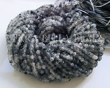 "13"" strand shaded RUTILATED QUARTZ gem stone faceted rondelle beads 3mm - 3.5mm"