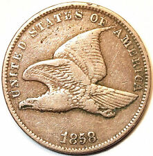 1858-Small Letter Flying Eagle, Full Wing & Tail Feather Design. Very Nice L@@K!