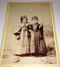 Antique Victorian Winter Fashion Adorable Young Brother & Sister, Cabinet Photo!