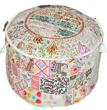 Pretty Indian Pouf in White Stool Vintage Patchwork Living Room Ottoman Cover