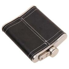 Portable Men 7oz Stainless Steel &Pu Leather Flask Hip Pocket Alcohol Black W