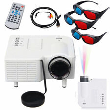Mini Portable LED Projector Multimedia Home Theater VGA white +Free glassess