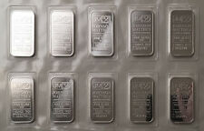 (10) 1 Troy oz Johnson Matthey .999 Fine Silver Bars Consecutive Serials Mint