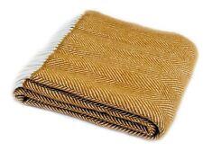 Herringbone jaune moutarde laine pure couverture plaid tapis british made par Tweedmill