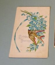 1908 German Birthday Greeting Card Postcard Embossed Golden Bird Red Feather Tip