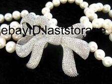 2ROW white freshwater pearl 8-9mm near round  bowknot 18-19' NECKLACE WHOLESALE