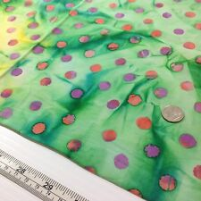 Batik Quilting Fabric Blue Green Yellow Dots 1 Yard Cotton Quality Estate Find