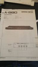 Roland A-880 Service Notes, Used But In Good Condition