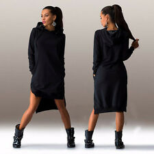 Womens Pocket Long Sleeve Hoodies Hoody Jumper Sweatshirt Top Bodycon Mini Dress