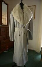 Vtg Butter Soft Dove Gray Leather Trench Coat w HUGE Detachable Fox Fur Collar M
