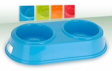 Double Plastic Dog Cat Pet Feeding Water Bowl - 4 Colours To Choose From