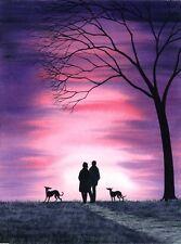 GREYHOUND DOG WHIPPET LURCHER 6631 Dianne Heap SIGHT HOUND ART SUNSET TREE GALGO