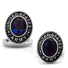 2 Piece US Army Blue Stone Military Silver Stainless Steel Cufflink a Pair