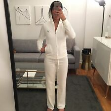 JUICY COUTURE WHITE ZIP UP HOODIE & PANT SET, SIZE S TOP & P PANTS