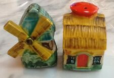 MADE IN JAPAN - Windmill and Thatched-Roof Cottage Salt & Pepper Shakers