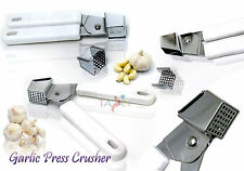 STAINLESS GARLIC PRESS CRUSHER PROFESSIONAL HEAVY DUTY EASY SELF CLEANING
