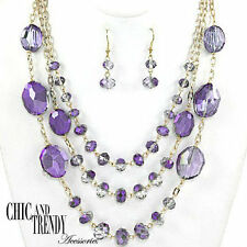 """HIGH END """"GLASS"""" PURPLE AB CRYSTAL CHUNKY LONG NECKLACE JEWELRY SET CHIC TRENDY"""