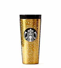 STARBUCKS 2016 HOLIDAY GOLD SNOW DOUBLE WALL STAINLESS STEEL TRAVEL TUMBLER MUG