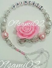 ❤Bling Rose Shamballa & Crystal Romany Dummy Clip Personalised White/pink!❤❤