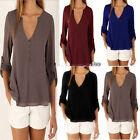 Sexy Damen V-Ausschnitt Chiffon Tops lange Ärmel Lässig shirt Hemd Bluse GR40-42