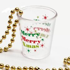 Christmas Merry Merry Xmas Party Shot Glass Gold Beaded Favor Treat Necklaces