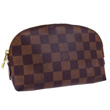 Authentic LOUIS VUITTON Cosmetic Pouch Hand Bag Damier Leather Brown 01W959