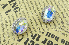 Fashion Vintage Shiny AB Crystal Stud Earrings Unique Charm Party Jewelry