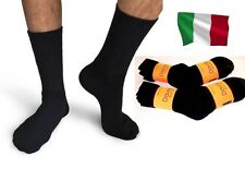Davido Mens socks crew made in Italy 100% cotton 8 pairs black size 13-15