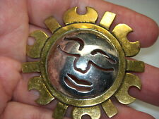 STERLING SILVER 925 VINTAGE ESTATE TAXCO METALES BRONZE SUN PIN BROOCH