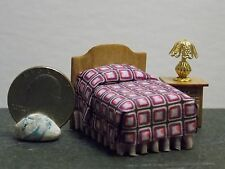 Dollhouse Miniature Bedroom Bed Night Stand &  Lamp 1:48 Quarter Scale 1/4  H154