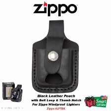 Zippo Black Leather Pouch w/Belt Loop & Thumb Notch For Windproof Lighter #LPTBK
