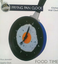 Clock in Frying Fry Pan Egg Omelet for Wall Decor - Blue Back ** GREAT GIFT **