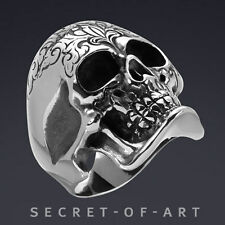 GIANT SKULL STAINLESS STEEL RING, DAY OF THE DEAD, DIA DE LOS MUERTOS GOTHIC