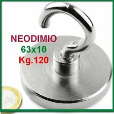 NEODIMIO MAGNETE A GANCIO 63x10 mm 120 KG. CALAMITA CALAMITE MAGNETI