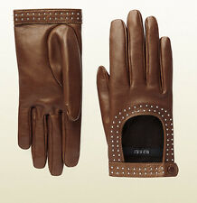 $675 GUCCI GLOVES STUDDED NUT BROWN LEATHER CUTOUT SILK LINING sz 7 / S