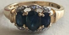10k Yellow Gold Ring With Sapphires And Diamonds- Size 6