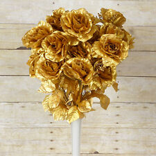 96 Gold GIANT SILK OPEN ROSES Wedding WHOLESALE Flowers Bouquets Centerpieces
