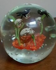 Unique Art Glass Paperweight Controlled Bubbles Flowers Trees Fish Bird