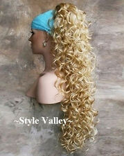 XL Blonde Mix Ponytail Claw Hairpiece Extension Clip in/on Curly Hair Piece NEW