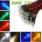 Sale Prewired LED 3mm 12V Warm White Red Green Blue Yellow UV Purple Orange Pink