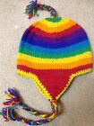 Sherpa Earflap Wool Hat Knitted Unisex *Rainbow*