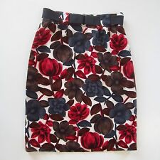 BODEN Womens Sz US 4 /UK 8R Cotton Linen Red Gray Brown Pencil Floral Skirt Belt