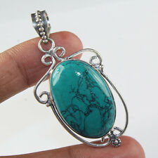 925 Sterling Silver Overlay Tibetain Turquoise Pendant Sz49X29 Handmade Jewelry