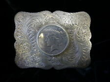 Vintage Sterling Hand Chased Southwest Belt Buckle W/1923 Silver Peace Dollar