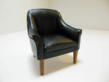 Dollhouse Miniatures Furniture 1/12: 3151 Black Leatherette Chair