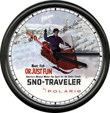 Polaris Snow Mobile Sno-Traveler Snowmobile Dealer Sign  Retro Wall Clock