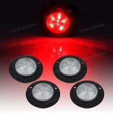 "(4)2"" Clear Lens Red Round Sealed Clearance Light 6LED Recessed Flush Mount"