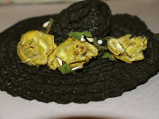 Vintage 1950s Madame Alexander CISSY Black with yellow rose flowers HAT