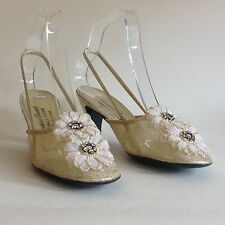 Christian Pauvert Gold Flower Leather & Mesh 1960s Vintage Shoes Party UK 4.5