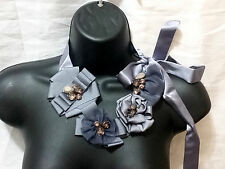 Gray Silk Ribbon Flower Daisy Floral Brown Crystal Necklace Bib Cocktail New